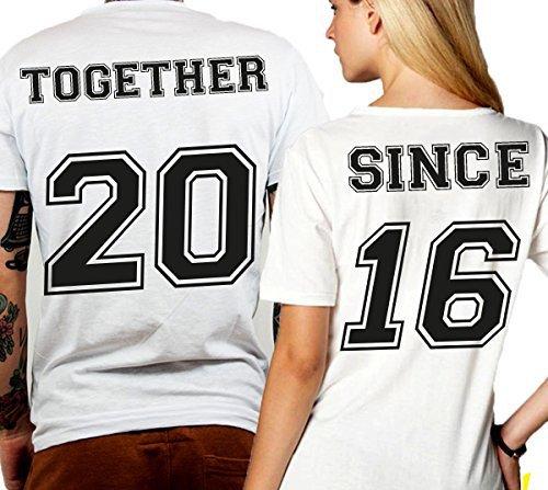 Coppia di T Shirt Personalizzate Con Numeri Together Since Bianche