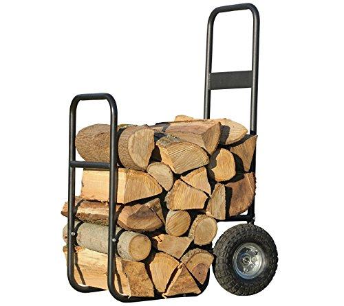 *ShelterLogic Kaminholzwagen Edelstahl, Brennholzkarre und Holzkorb für Kaminholz; Kaminholzwagen mit Rollen für Innen- und Außenbereich*