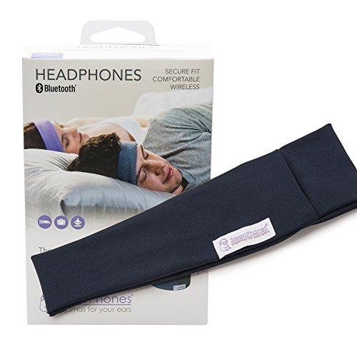 AcousticSheep weiches, dünnes SleepPhones Wireless Breeze Polyester-Stirnband mit Bluetooth, integriertem Kopfhörer für Smartphone und Tablet (Größe: XL) galaxy blau