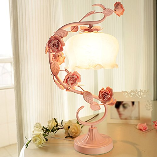 ZXW Iron Flowers Tischleuchte Bedside Light -E27 * 1 ( farbe : Pink ) -
