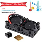 MakerHawk Raspberry Pi 3 B+ Dual Fan, 5V Raspberry Pi Cooling Fan with 2pcs Heatsink, Ultimate Cooling and 22DBA Quiet Fan for RPI 3 B+