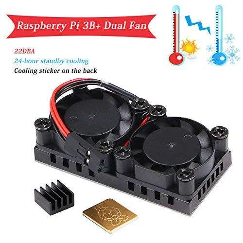 MakerHawk Raspberry Pi 3 B + Dual Fan, Ventola di Raffreddamento Raspberry Pi 5V con dissipatore 2pcs, Raffreddamento di Ultima Generazione e Ventola silenziosa 22DBA per RPI 3 B +