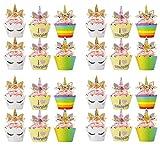 Bdecoll 24Pièces Décorations Gâteau,Doré Licorne Gâteau D'anniversaire/Cake Topper,Licorne Décoration de Fête pour L'anniversaire / Noce