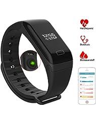 Fitness Tracker - VOEONS - Fitness Armband - IP67 Wasserdicht Schwarz/Blau Sportuhr - Smart Armband mit Schlafmonitor, Schrittzähler, Pulsmesser Kalorienzähler für iOS / Android Smartphones
