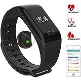 Fitness Tracker mit Pulsmesser, Fitness Armband - IP67 Wasserdicht Schwarz Sportuhr - Smart Armband mit Schlafmonitor, Schrittzähler, Kalorienzähler für iOS / Android Smartphones
