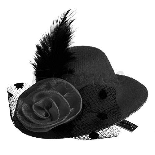 Haptian Spitzen-Top-Hut, Feather Rose Mini Ladys Zylinder Kappe Spitze Fascinator Haarspange Kostümzubehör Schwarz