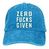 Zero (No) Fucks Given Adult Cotton Washed Denim Leisure Hat Adjustable Black