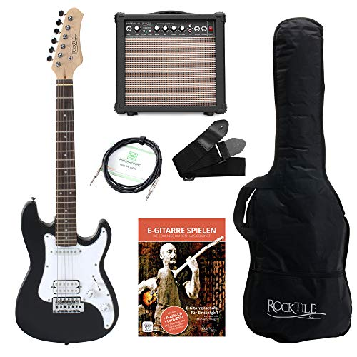 Rocktile Sphere Junior Guitare Eléctrique Noir SET 3/4 avec ampli, cable et sangle