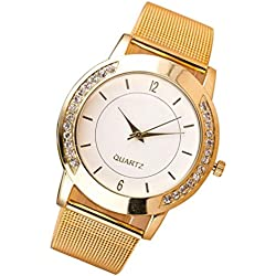 Tonsee Fashion Women Crystal Golden Stainless Steel Analog Quartz Wrist Watch Bracelet
