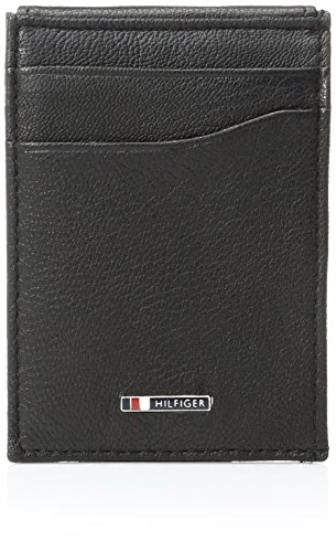 Tommy Hilfiger Men's Leather Slim Front Pocket Wallet,Lloyd Black (Tommy Hilfiger Geldbörse Herren Slim)