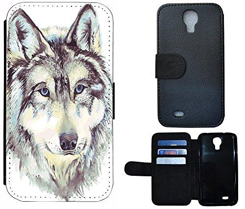 Flip Cover Schutz Hülle Handy Tasche Etui Case für (Apple iPhone 5 / 5s, 1011 Tige Schwarz Weiß Feuer) 1010 Wolf