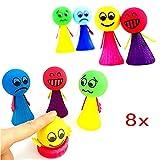JZK 8 Stücke Klein Emoji Puppen Kinder Jumping Spielzeug Springbälle Hüpfball, Mitgebsel Gastgeschenk zum Kinder Geburtstag Kinderparty Garten Party