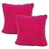 JOTOM Mode Chenille Kissenbezüge für Couch Schlafsofa Kissenbezug Kissenhülle Home Dekorative 45X45 cm, Set von 2 (Hot Pink)