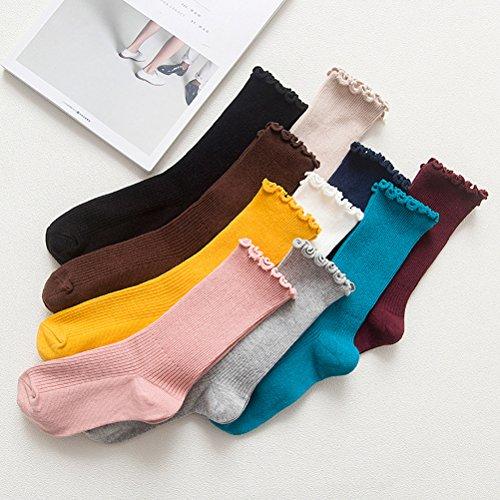 LUOEM Slouch Socken Stricksocken für Damen Mädchen Füße von 35-38 Größen (Grau) - 5