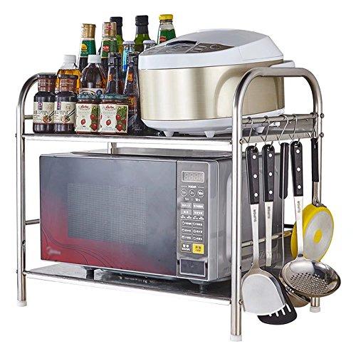 MAIKA HOME Edelstahl Küchenregal/Geschirr/Gadgets/2-stöckiges, 3-geschossiges Lagerregal (Stil: B, Größe: 50 * 36 * 55cm) - Gadgets Mais