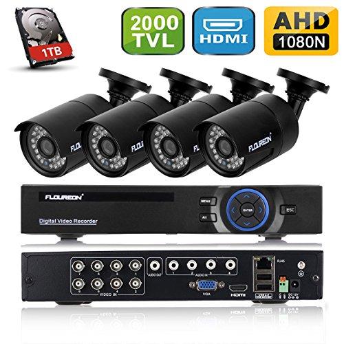 Galleria fotografica FLOUREON DVR Kit Videosorveglianza ( 8CH 1080N AHD HDMI DVR + 4 * 960P 2000TVL 1.3MP Telecamera Esterno + 1TB HDD Hard Disk ), Backup USB, Allarme Email, Sistema di Sicurezza