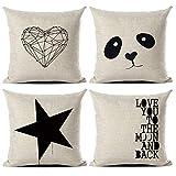 Gspirit federe Amore Panda Stella Tema 4 Pack Cuscini per divani Decorativo Cotone Biancheria Cuscino copricuscini Divano Caso Federa per Cuscino 45x45 cm