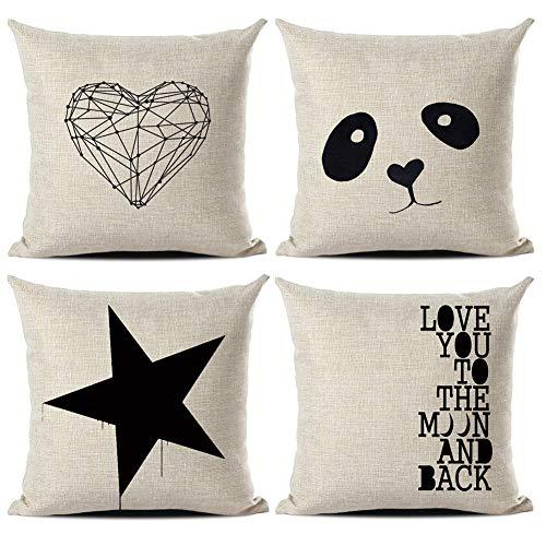 Gspirit Funda Cojines Amor Panda Estrella Tema 4 Pack Algodón Lino Decorativo Throw Pillow Case Funda Almohada 45x45cm