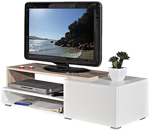 Symbiosis 3254A0319L02 Contemporain Meuble TV Blanc/Chêne Naturel avec Tiroir Blanc 120 x 42 x 32 cm