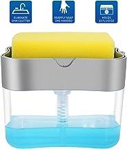 Aeakey Soap Pump Dispenser and Sponge Holder for Kitchen Sink Dish Washing Soap dispenser 13 ounces