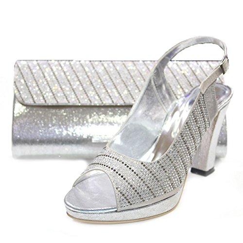 W & W femmes Mesdames cristal Diamante Mariée Mariage Chaussures et sac assorti Taille 4-10(Eddy & Mobi) Argent - argent