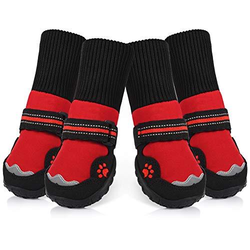 Petacc Zapatos Antideslizantes para Perros Zapatos Transpirables para Mascotas Protector de la Pata de Perro Resistente al Desgaste (Rojo, 6)