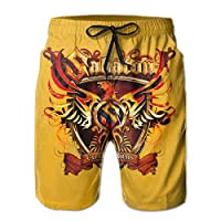 ZKHTO Beach Yoga Pants Sabaton Coat of Arms Swimming Beach Board Shorts for Men Boys, Outdoor Short Pants Beach Accessories,Shorts Size XXL