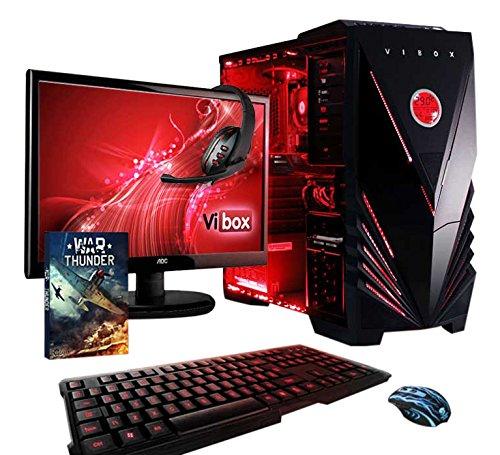 """Vibox Sharp Shooter Pacchetto 7A Gaming PC con Gioco War Thunder, 21.5"""" HD Monitor, 4GHz AMD FX Quad Core Processore, nVidia GeForce GTX 750 Scheda Grafica, 1TB HDD, 16GB RAM, Case Commando, Rosso"""