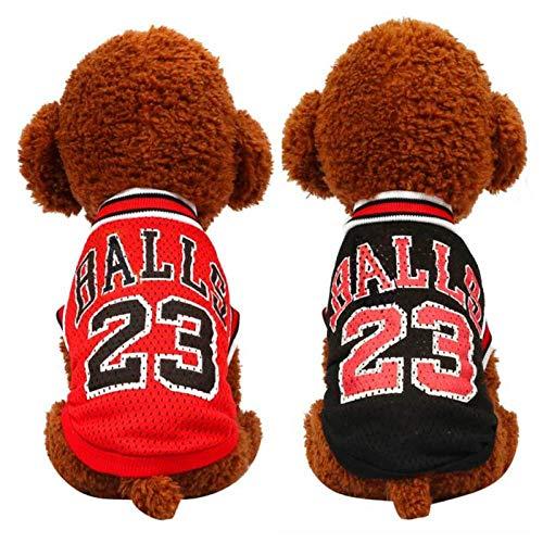 Dog Clothes Four Seasons Teddy pet Dress Than Bear Puppy Basketball Clothing Pomeranian Puppies mesh Shirt Summer Thin Section@Black_L - Golden Bears Basketball