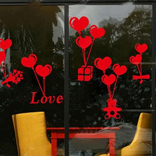 Kicode Dormitorio de pared de ventana Regalo del globo Corazón forma amor Vinilo Decoración de pareja Calcomanía día de San Valentín