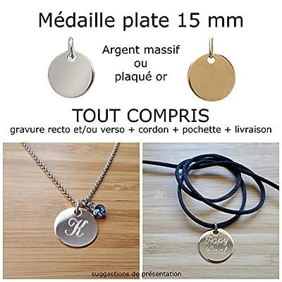 MELI MELOW Pendentif médaille plate 15 mm et gravure de votre choix recto verso en argent massif ou plaqué or - bijou personnalisé gravé made in France MIF