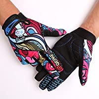 "TOFENR Unisex Cool Skull Skeleton Full Finger Gloves for Bicycle Motorcycle Cycling Winter Warm Sports Hiking Fitness Gym Gloves, Colorful Skull M: Palm width 2.7~3.2""/7~8cm"