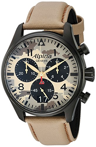ALPINA STARTIMER PILOT DESERT CAMOUFLAGE HERREN-ARMBANDUHR 44MM AL-372MLY4FBS6