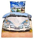 LINON WENDE BETTWÄSCHE VW BULLI 135 cm x 200 cm + 80 cm x 80 cm NEU & OVP - 100% BAUMWOLLE VOLKSWAGEN VW BUS EXKLUSIV -