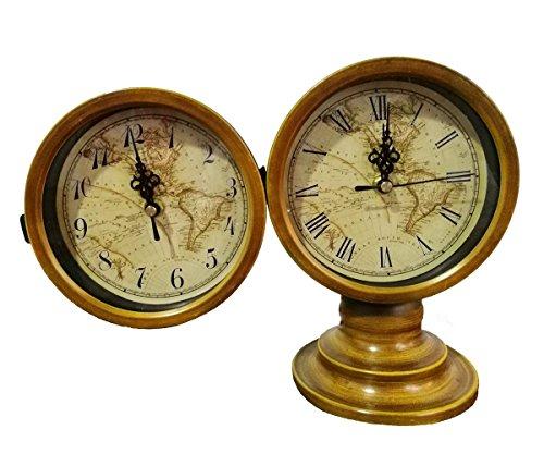 Antik Kamin Kaminuhr, eruner doppelseitig Dekorative Metall Schreibtisch Tisch Uhr Silent Shabby Chic Armbanduhr Karte Atlas Muster Rustikal Uhr für Küche Schränke Wohnzimmer, Vintage Camel Braun -