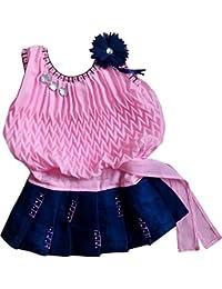 BENKILS Girls' Knee Length Dress (Ba200146_Pink_3-6 Months)