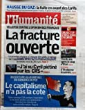 HUMANITE (L') [No 19153] du 23/03/2006 - HAUSSE DU GAZ - LA FUITE EN AVANT DES TARIFS...