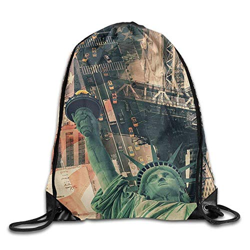 GONIESA American New York City Street Scenery Liberty Statue and Usa Flag Freedom Torch Illustration Drawstring Bags Running Gym Backpack