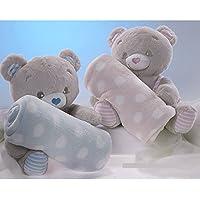 Manta para Bebé con Peluche Osito Corazón, color Azul o Rosa