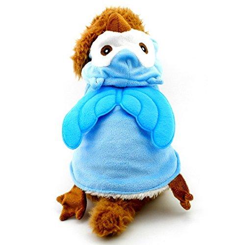 SELMAI Hunde-Kostüm für kleine Hunde und Katzen, Eulen-Kostüm, Halloween, Haustierkostüme, Hunde-Pyjama aus Polar-Fleece, für Herbst und Winter (Eule Kostüm Hund,)