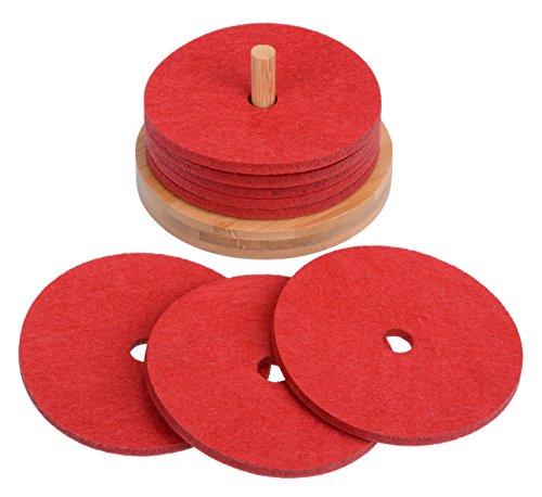 8 Glasuntersetzer mit Halter rot