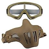 Fansport Halbe Gesichtsmaske Mesh Maske SchüTzende Atmungsaktive Outdoor Spiel Maske mit Sportbrillen