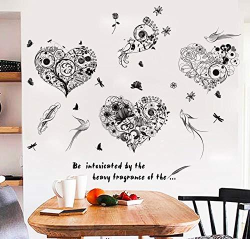 Wandaufkleber schlafzimmer wandaufkleber kinderzimmer diy vinyl aufkleber blumen und vögel gericht herz fenster arbeitszimmer tv sofa hintergrund dekoration aufkleber 50 * 70 cm