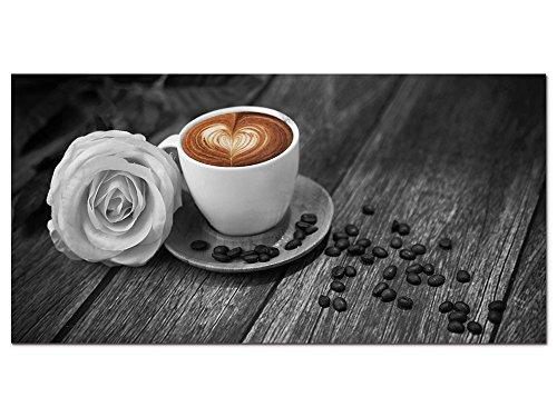 GRAZDesign Wandbild Kaffee Küche - Schwarz Weiß Braun - Glasbild Echtglas Bilder aus Glas - Fotografie Fotodruck - Dekoration Wohnung modern / 100x50cm / 100064_001_Glas