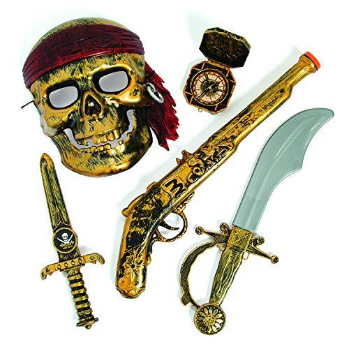 aten Party Set Maske Pistole Dolch Säbel und Kompass Mottoparty Karneval mit Palandi® Sticker ()