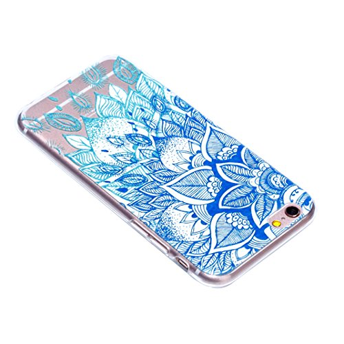 Relief Souple Étui Pour iPhone 6 6S, Asnlove Soft Silicone TPU Case Motif Couleur Embossed Housse Ultra Mince Coque Transparent Cover Anti Scratch Cas Pour iPhone 6/6S - Rouge Fleur Totem Feuilles Bleu