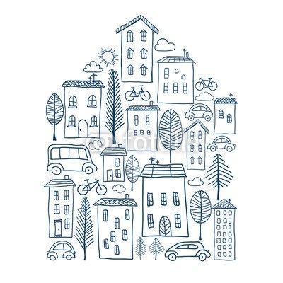 """Alu-Dibond-Bild 30 x 30 cm: """"Town doodles in house shape"""", Bild auf Alu-Dibond"""