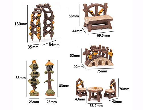 SecretRain 8pcs Resin Fairy Garden Furniture Set, Chairs,Table,Arbor,Bench,Bridge,Streetliht and Sign, Hand Painted Ornaments for Home & Outdoor