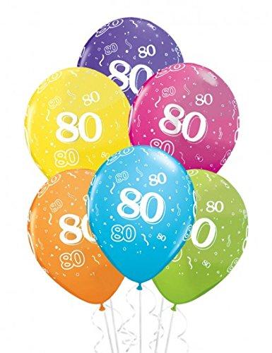 Preisvergleich Produktbild 6 Latexballon Luftballon Zahlenballon Zahl 80 farbig sortiert ca. 28 cm (Ballongas geeignet)