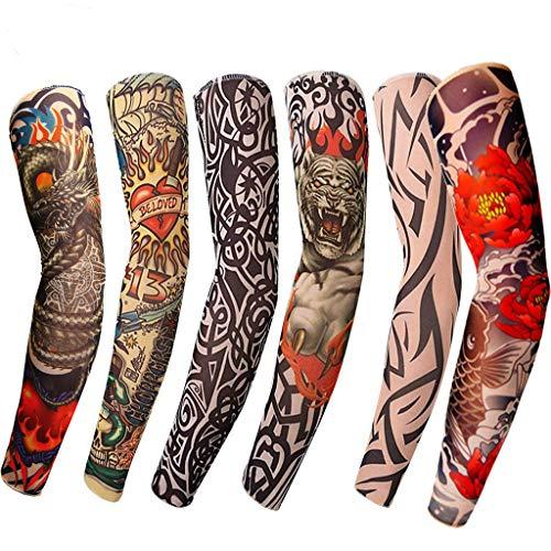 Tattoo-6 StückTattoo Ärmel, Tattoo Sleeves Arm Tattoo Strumpf Unisex Nylon Tattoo Ärmel Sleeve Temporäre für Karneval Fasching Party, Sonnenschutz Schweiß Absorbiert Atmungsaktiv (Mehrfarbig) - Sun Keltische Tattoo